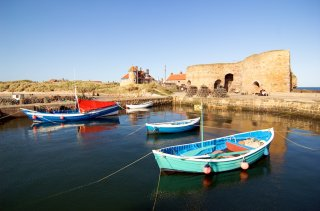 Fishing Cobles in Beadnell Harbour - picture by subject=