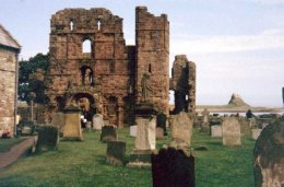 The ruins of Lindisfarne Abbey. (View bigger)
